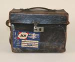 Leather Camera Case and slides belonging to T. H. Morris, case fits Graflex camera