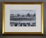 Reproduction of an illustration depicting cricket match in progress at the Melbourne Cricket Ground