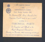 Invitation card from the Organising Council , VII British Empire & Commonwealth Games , Perth, Farewell Party 1 December 1962