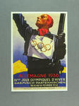 1936 Winter Olympic Games poster, reproduced as a coloured postcard by the I.O.C. in 1984 and contained in Card Wallet