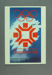1984 Winter Olympic Games poster, reproduced as a coloured postcard by the I.O.C. in 1985 and contained in Card Wallet