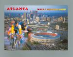 """Postcard with images of cyclists and Atlanta, """"Where Winners Born"""""""