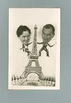 Postcard, image of Lola Scott & Harry Morris at the Eiffel Tower c1936