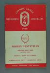 1956 Olympic Games - Official Pentathlon Programme, Oaklands Hunt Club - 23 November to 28 November