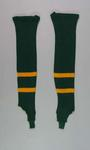 Two green and yellow striped woollen leggings