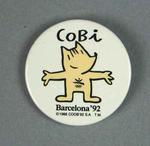 Badge, features 1992 Olympic Games mascot Cobi