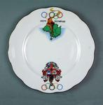 White Bone China Plate with Rings, Torch and Melbourne Coat of Arms