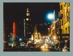 Photograph of Bourke Street with 1956 Olympic Games decorations