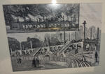 Reproduction of engraving, image of MCC reversible grandstand on fire - 1884