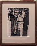Reproduction photograph, Don Bradman heading out to bat at MCG - 1948