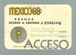 Media identification pass issued to Percy Cerutty, 1968 Olympic Games