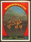 1968 Scanlens (Scanlens) Australian Football Neil Evans, Geoff Gosper, Greg Brown Trade Card