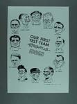 """Cartoon from Australasian Post, 1948 Australian XI """"Our First Test Team"""""""