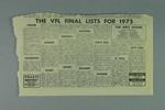 """Newspaper clipping, """"VFL Club Lists for 1975"""""""