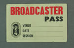 Broadcaster pass, 1956 Olympic Games