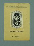 Identity card issued to Fin McNab, 1956 Melbourne Olympic Games