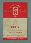 Programme for 1956 Olympic Games hockey events, 23-30 Nov
