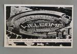 1954 Postcard, black & white aerial photograph of MCG showing The Children's Living Welcome to the Royal Visitors on 4 March 1954