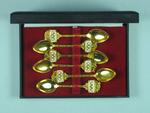 Set of six teaspoons in case, 1968 Olympic Games