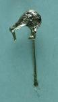 Stick pin, silver kiwi