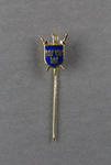 Stick pin, blue shield with three gold crowns and three crossed swords