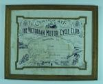 Certificate - The Victorian Motorcycle Club presented to G.F. Wright c. 1916