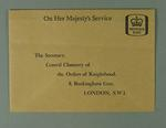 Envelope associated with P.A. Pavey MBE addressed to Central Chancery of Orders of Knighthood