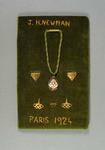 Embroidered mount with medallion, cufflinks and pins - worn by Jack Newman, 1924 Olympic Games