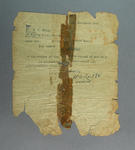 Authority dated 4 November 1922, addressed to Mr. M.J. Foley advising F. Stubbs winner of  'Self' Cycle, part of 1st prize in  1922 Barnett Glass Road Race