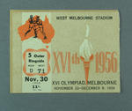 Ticket - Boxing, West Melbourne Stadium, 1956 Melbourne Olympics, 30 November