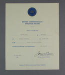 Certificate for British Commonwealth 200m Hurdles Athletics Record, presented to Maureen Caird