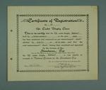 Certificate of Registration, No. 93,  12ft Cadet Dinghy 'Margo'