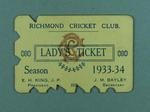 Richmond Cricket Club Lady's Ticket, season 1933-34