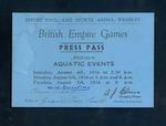 Press pass to 1934 British Empire Games aquatic events at Wembley Stadium, 4-7 August 1934
