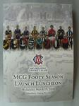 """Menu and Programme; """"MCG Footy Season / Launch Luncheon // Wednesday March 19, 2008 / Members Dining Room"""