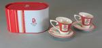 Set of two cup and saucers and container from the 2008 Beijing Olympic Games