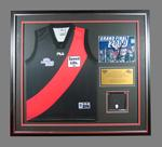 Framed James Hird montage 2000, Essendon Guernsey, colour photograph,genuine Norm Smith Medal and inscribed plaque