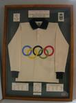 Framed replica guernsey from the 1956 Australian football exhibition match, 1956 Melbourne Olympics