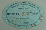 Victorian Football Association umpire ticket, issued to Alfred Hughes - season 1920