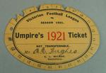 Victorian Football Association umpire ticket, issued to Alfred Hughes - season 1921