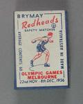 A Brymay Redhead match box with matches, cover depicts  Discus - 1956  Melbourne Olympics