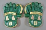 Pair of autographed wicketkeeping gloves worn by Adam Gilchrist in a One Day International cricket match