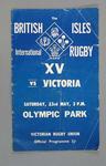 Rugby union match program, Victoria v British & Irish Lions, 23 May 1959