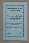 Programme, Australasian Banks Athletic Club, Track and Field Championships 1956