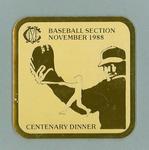 Coaster from MCC Baseball Section centenary dinner November 1988
