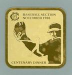 Coaster from MCC Baseball Section centenary dinner November 1988