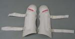 Shin guards worn by Slalom skier Jessica Gallagher, 2010 Winter Paralympic Games.