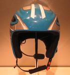 Helmet and communications headset worn by Eric Bickerton, Slalom Skier Jessica Gallagher's guide, at the 2010 winter Paralympic Games.
