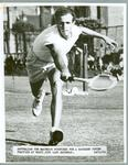 Black and white press photograph of Australian tennis player Ken McGregor during the Davis Cup, 1951