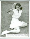 Black and white press photograph of American tennis player Nancy Chaffee at Wimbledon, c.1951